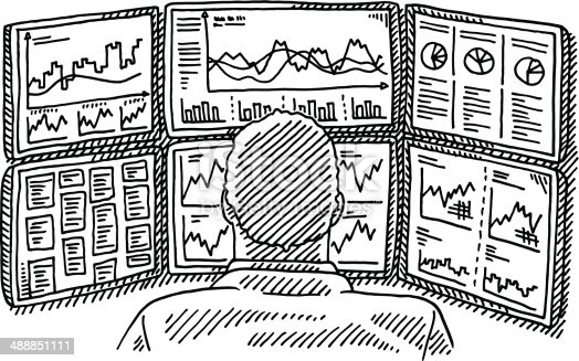 Hand-drawn vector drawing of a Broker on his Work Place with Displays full of Charts. Black-and-White sketch on a transparent background (.eps-file). Included files are EPS (v10) and Hi-Res JPG.
