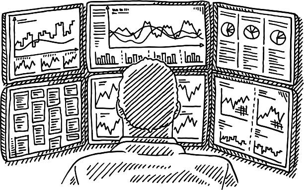 Broker Work Place Displays Charts Drawing Hand-drawn vector drawing of a Broker on his Work Place with Displays full of Charts. Black-and-White sketch on a transparent background (.eps-file). Included files are EPS (v10) and Hi-Res JPG. wall street stock illustrations