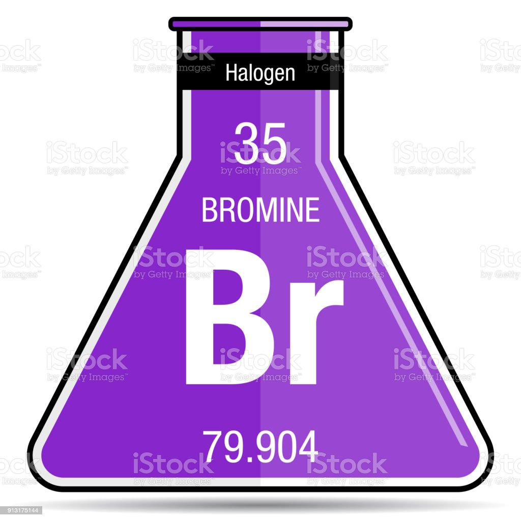 Bromine Symbol On Chemical Flask Element Number 35 Of The Periodic