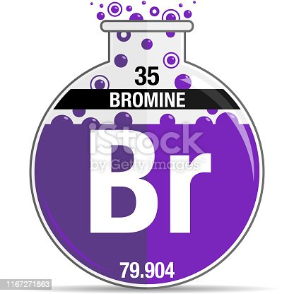 Bromine symbol on chemical round flask. Element number 35 of the Periodic Table of the Elements - Chemistry. Vector image