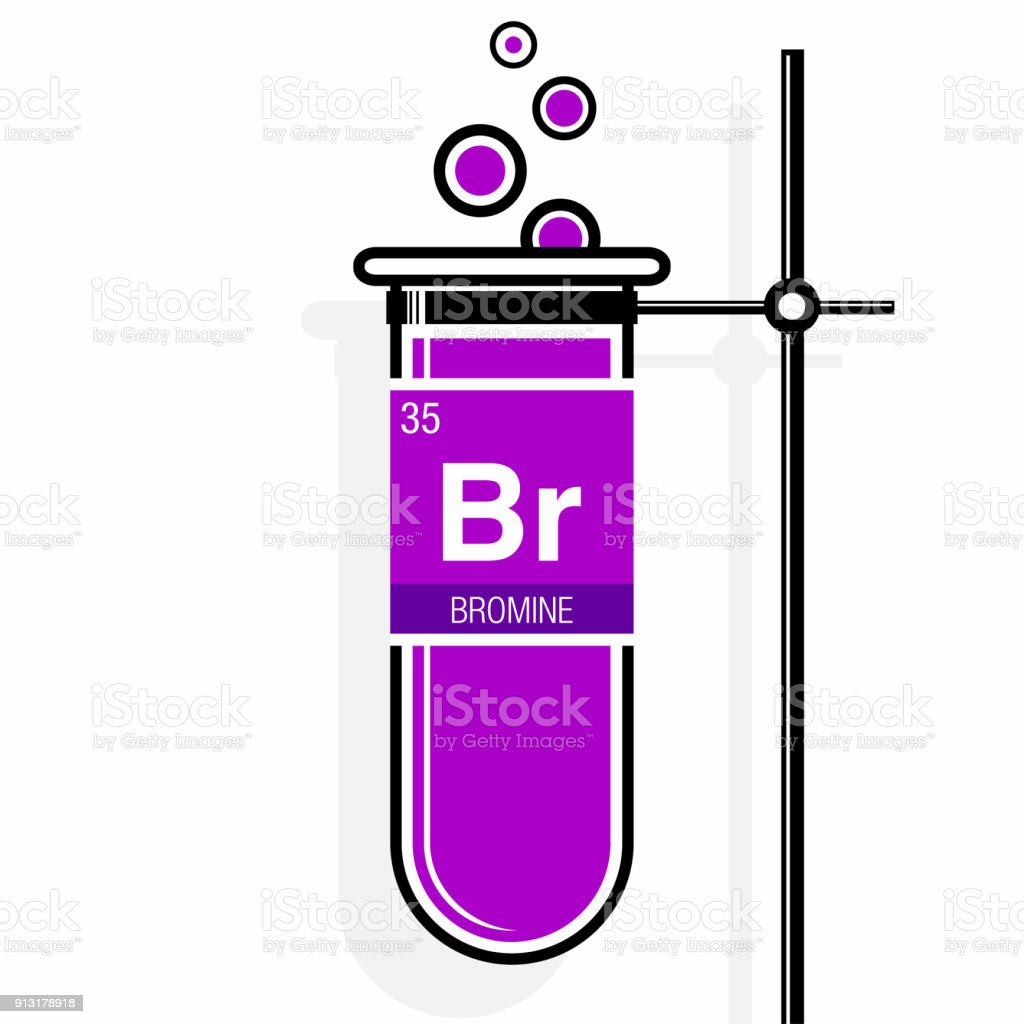 bromine symbol on label in a magenta test tube with holder element number 35 of - Bromine Periodic Table Atomic Number
