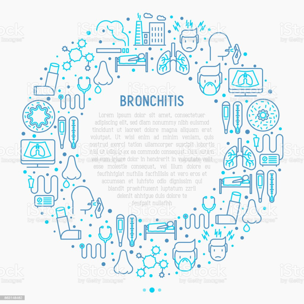 Bronchitis concept in circle with thin line icons of symptoms and treatments: headache, alveolus, inhaler, nebulizer, stethoscope, thermometer, x-ray, bed rest. Vector illustration. vector art illustration