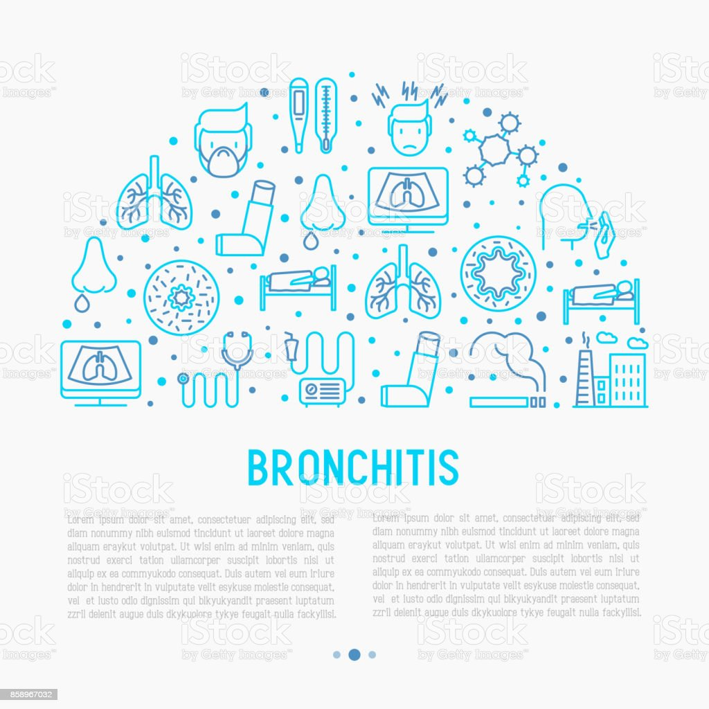 Bronchitis concept with thin line icons of symptoms and treatments: headache, alveolus, inhaler, nebulizer, stethoscope, thermometer, x-ray, bed rest. Vector illustration for banner, print media. vector art illustration