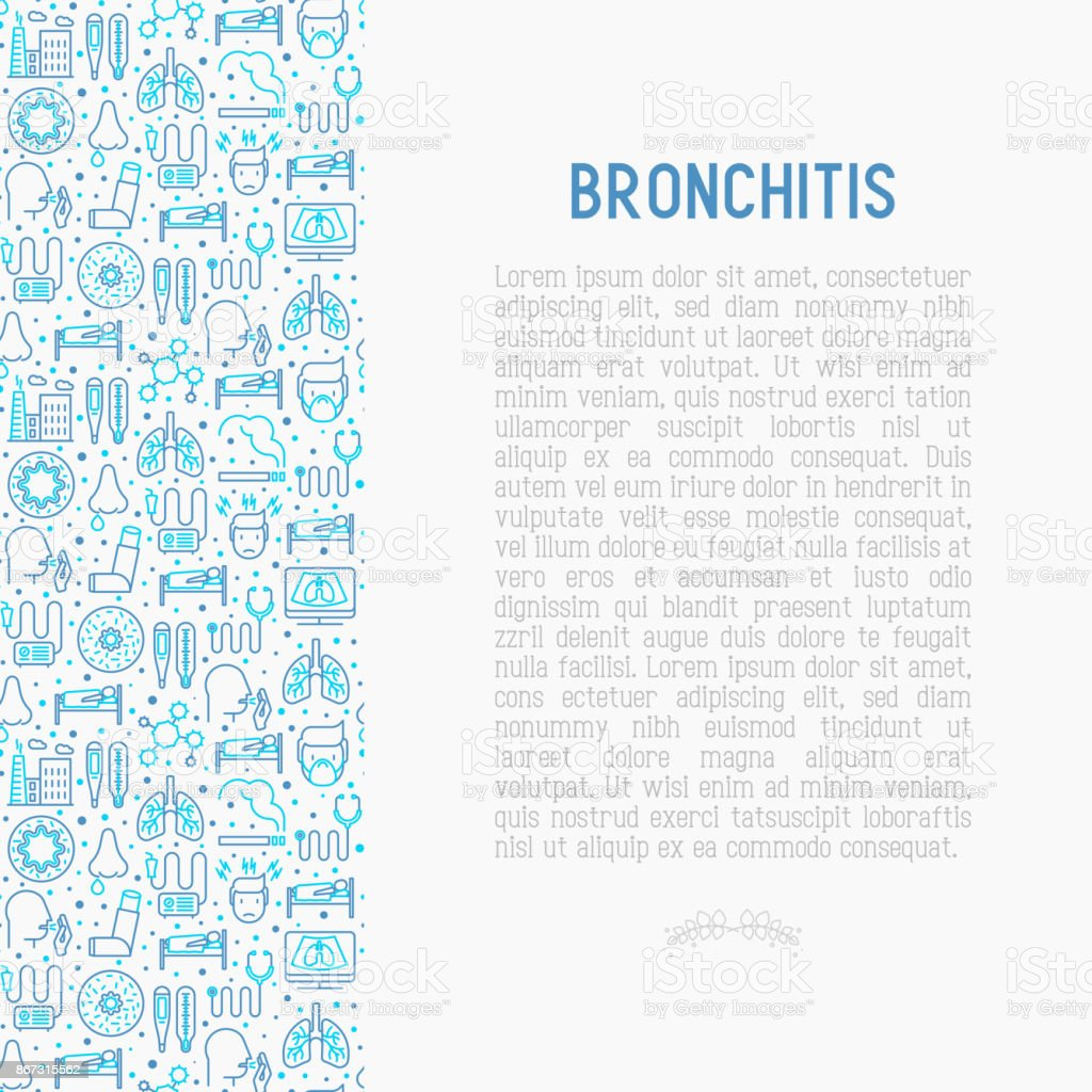 Bronchitis concept with thin line icons of symptoms and treatments: headache, alveolus, inhaler, nebulizer, stethoscope, thermometer, x-ray, bed rest. Vector illustration. vector art illustration