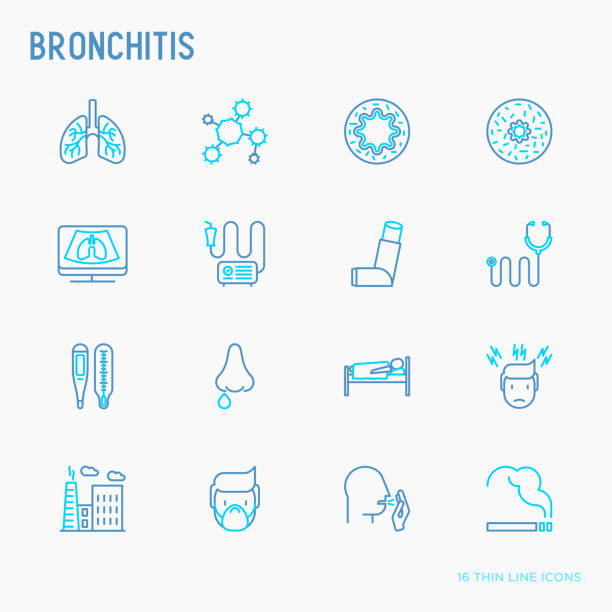 Bronchitis thin line icons set of symptoms and treatments: headache, alveolus, inhaler, nebulizer, stethoscope, thermometer, x-ray, bed rest. Vector illustration. Bronchitis thin line icons set of symptoms and treatments: headache, alveolus, inhaler, nebulizer, stethoscope, thermometer, x-ray, bed rest. Vector illustration. alveolar duct stock illustrations