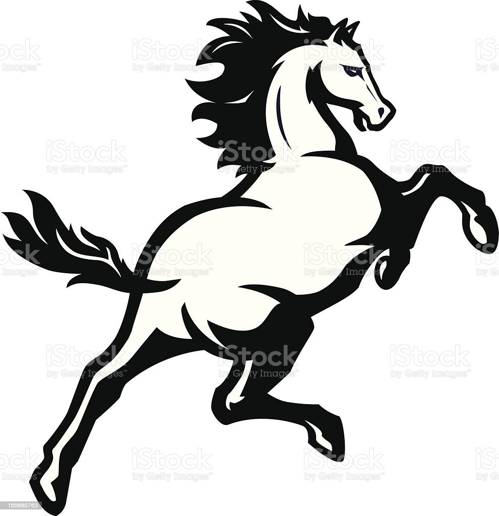Bronco mascot B&W vector art illustration