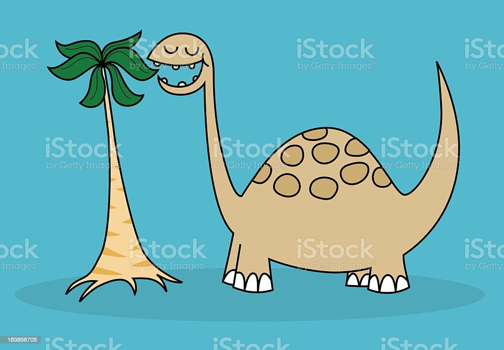 Brontosaurus eating leaves royalty-free stock vector art