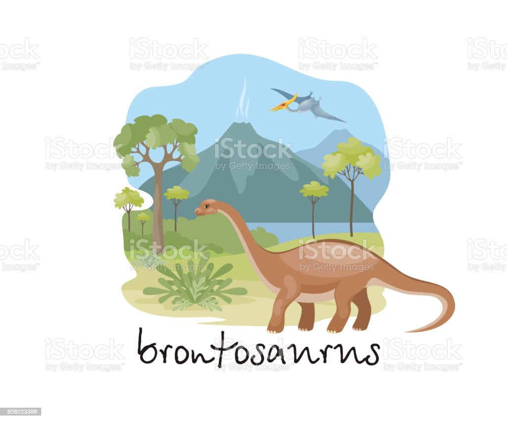 Brontosaurus In Cartoon Style Stock Vector Art & More Images of ...