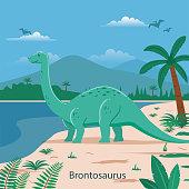 Prehistoric landscape with dinosaur illustration