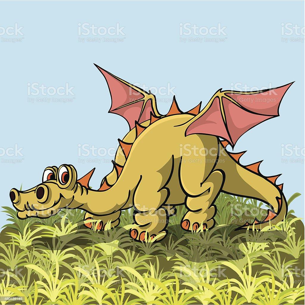 Brontosaurus with wings posuschiysya peacefully on the grass. royalty-free stock vector art