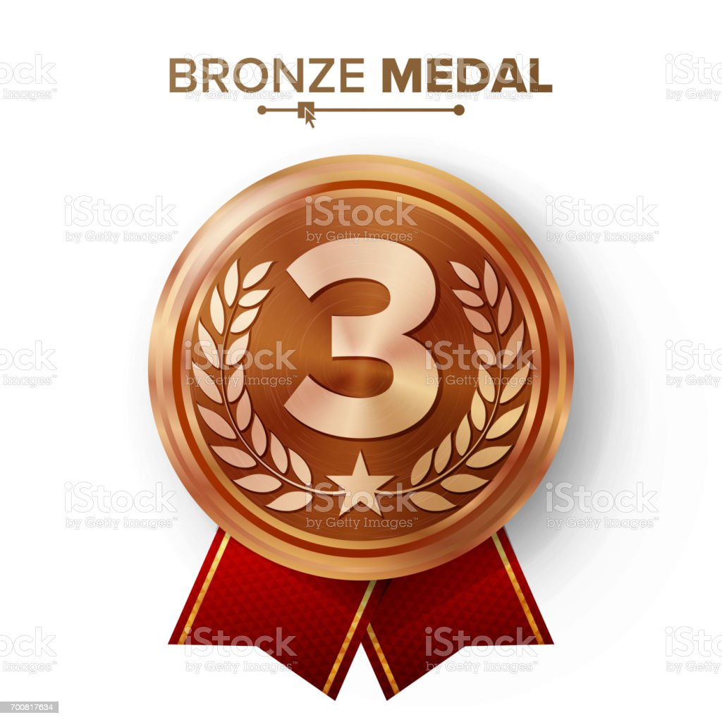 Bronze 3st Place Medal Vector. Metal Realistic Badge With Third Placement Achievement. Round Label With Red Ribbon, Laurel Wreath, Star. Winner Honor Prize. Competition Game Bronze Winner Trophy Award vector art illustration