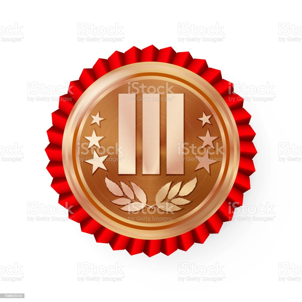 Bronze 3st Place Rosette, Badge, Medal Vector. Realistic Achievement With Third Placement. Round Championship Label With Red Rosette. Ceremony Winner Honor Prize. Sport Bronze Challenge Trophy Award vector art illustration