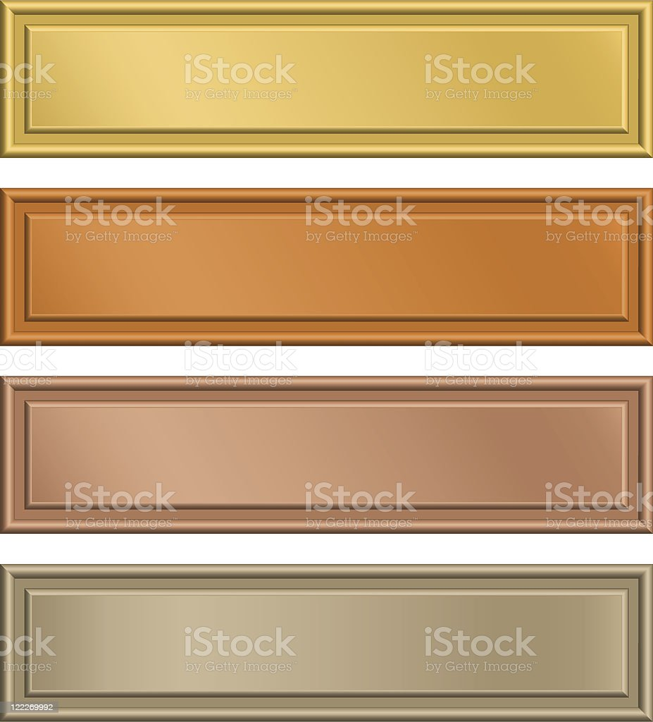 Bronze and gold blank metal plaques vector art illustration