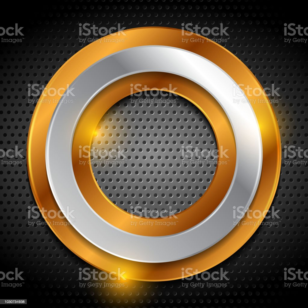 Bronze and silver rings on metallic perforated background vector art illustration
