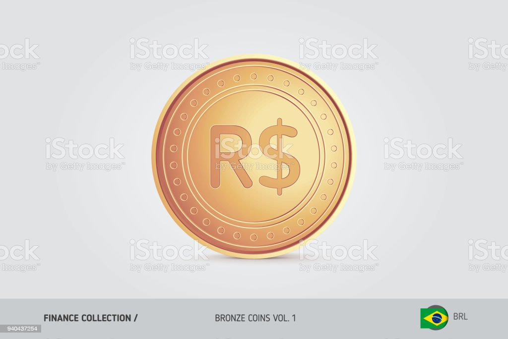 Bronze Coin Realistic Bronze Brazilian Real Coin Isolated Object On