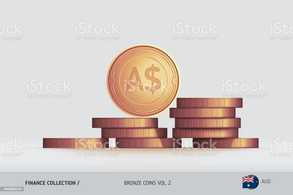 Bronzemünzen Realistische Australischer Dollar Münze Auf Gestapelten