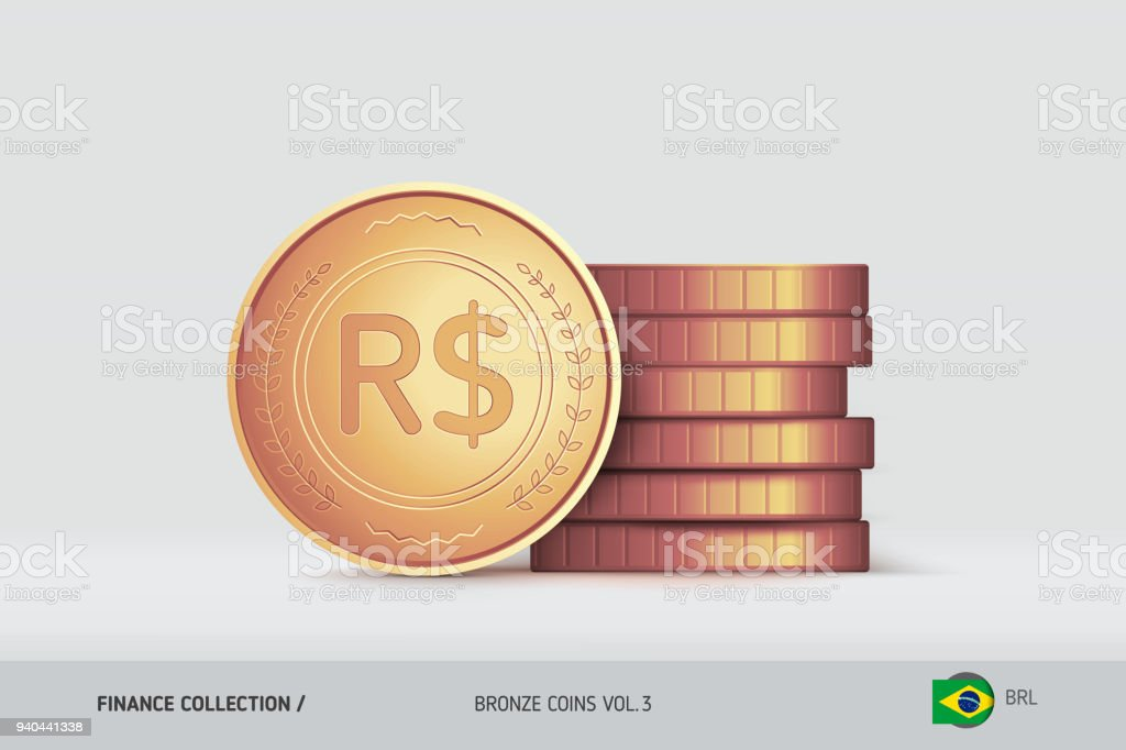 Bronze Coins Realistic Brazilian Real Coin Standing Near Of Stacked