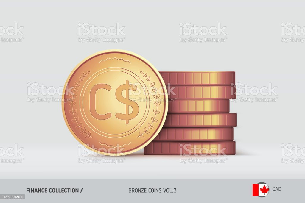 Bronze Coins Realistic Canadian Dollar Coin Standing Near Of Stacked