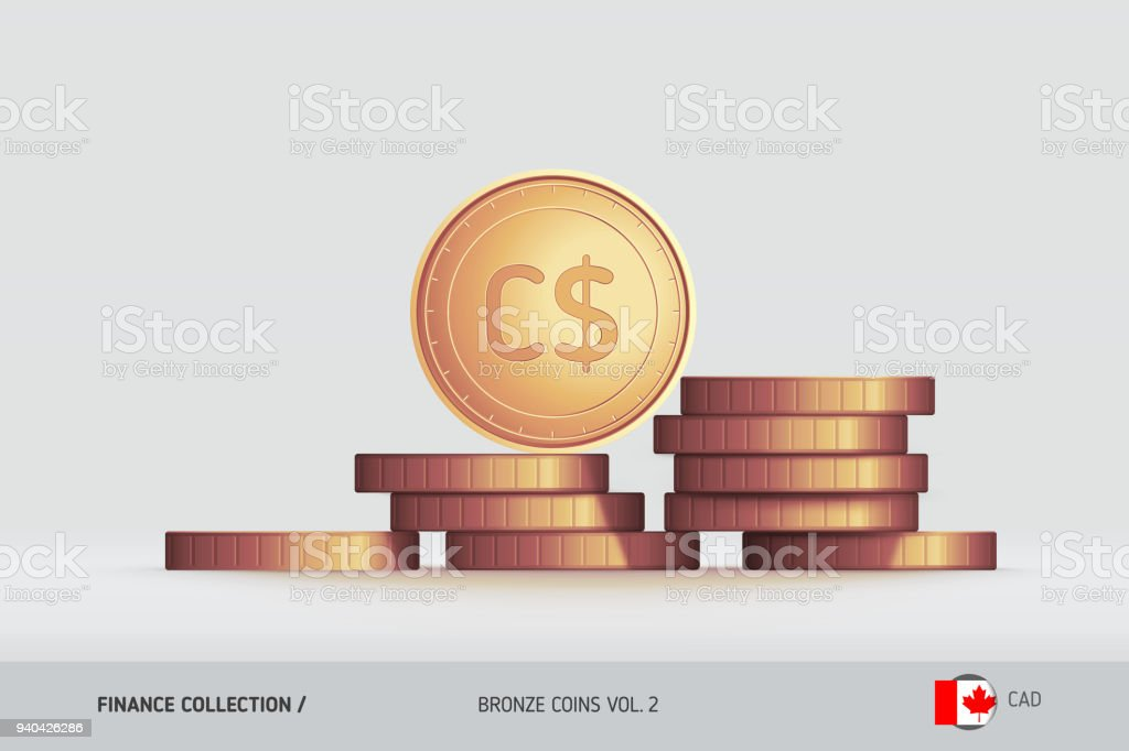 Bronze Coins Realistic Canadian Dollar Coin Standing On Stacked