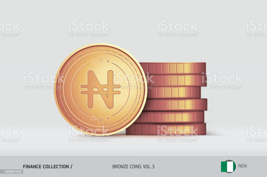 Bronze Coins Realistic Nigerian Naira Coin Standing Near Of Stacked
