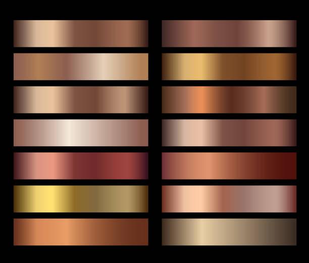 bronze-folie textur gradienten vorlagen set - kupfer stock-grafiken, -clipart, -cartoons und -symbole