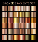 Bronze gold gradients. Collection of beige gradient illustrations for backgrounds, cover, frame, ribbon, banner, coin, label, flyer card poster etc Vector template EPS10
