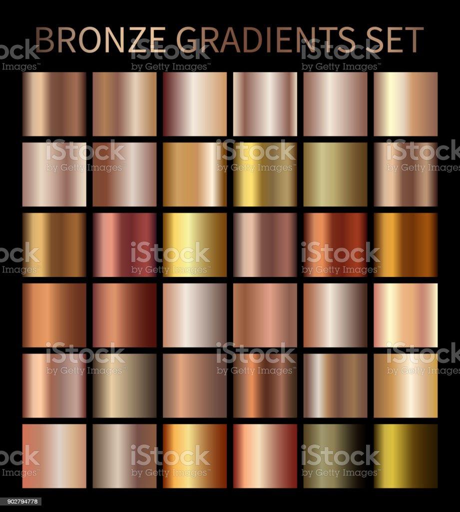 Bronze gold gradients vector art illustration