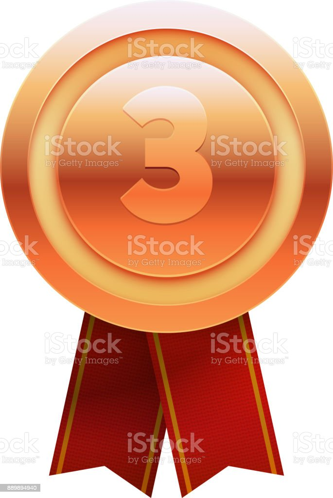 Bronze Medal with Number Three on White Background. Vector vector art illustration