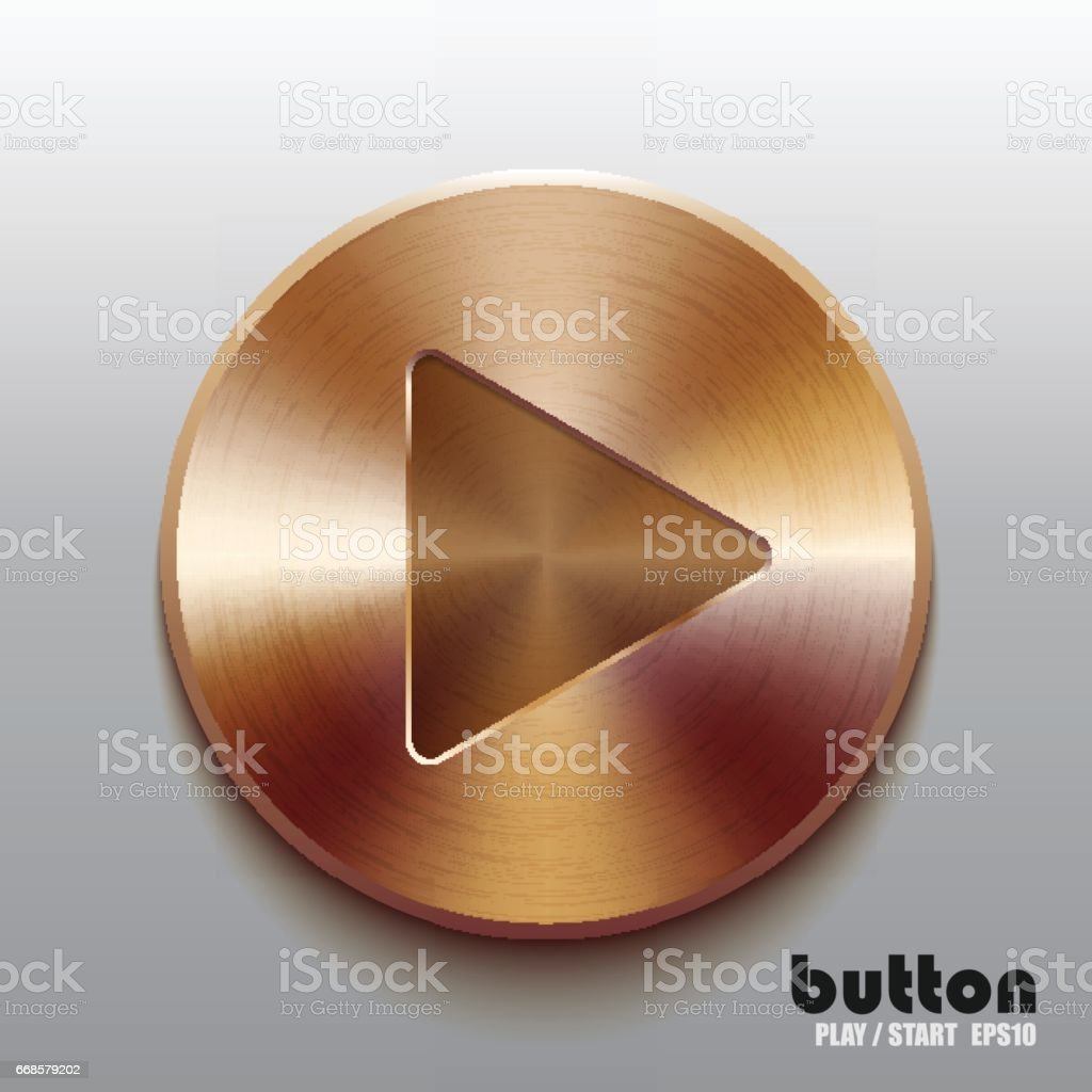 Bronze play button vector art illustration