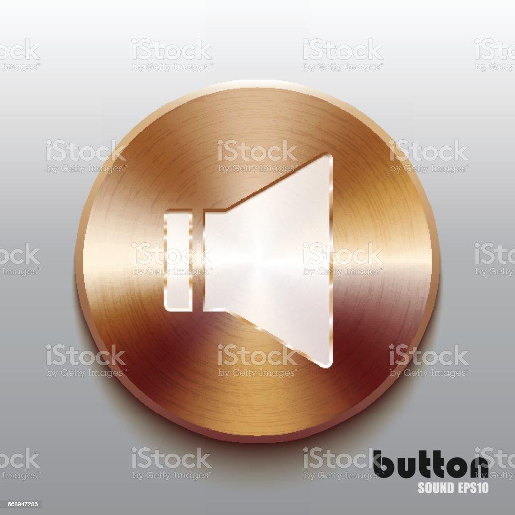 Bronze sound speaker button with white symbol vector art illustration