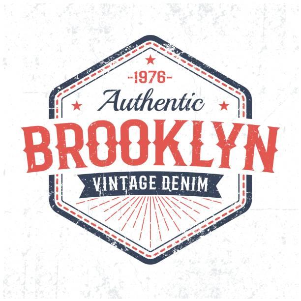 Auténtico emblema vintage Brooklyn en estilo clásico americano - ilustración de arte vectorial