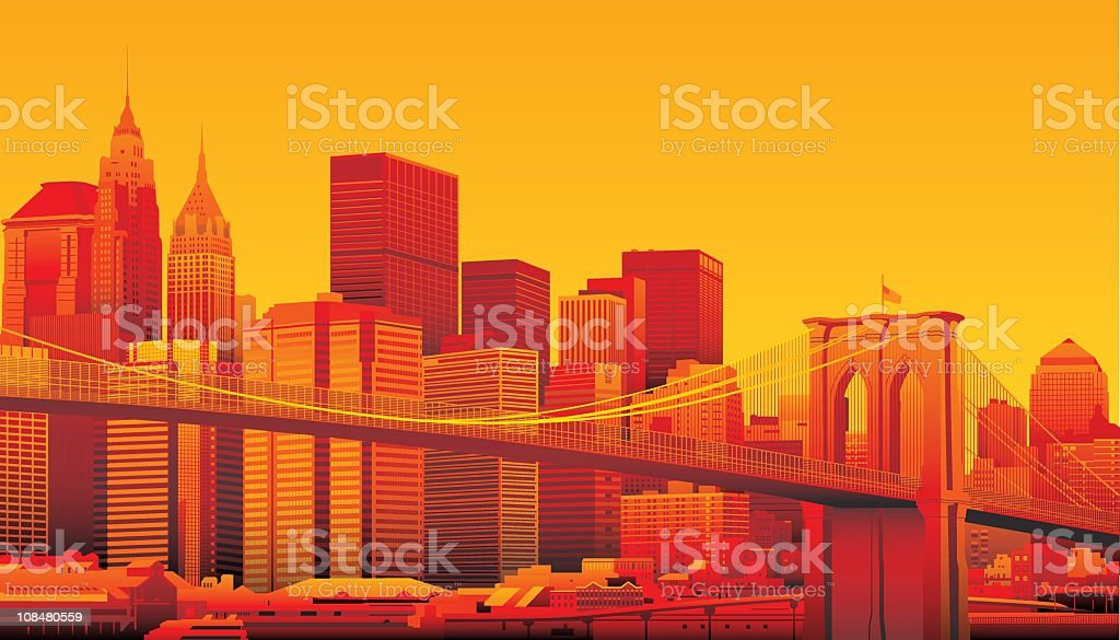 Brooklyn Bridge and Manhattan, New York City. vector art illustration