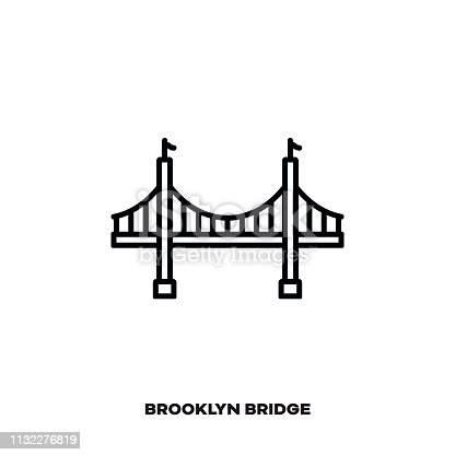 istock Brooklyn Bridge at New York City, USA vector line icon. 1132276819