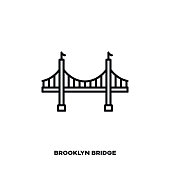 Brooklyn Bridge At New York City, United States of America, vector line icon. International landmark and tourism symbol.