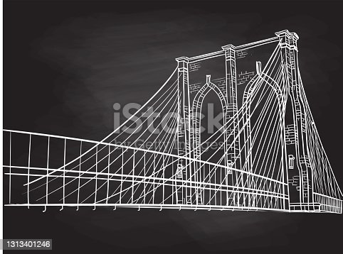 Sketch of the Brooklyn bridge in New York in vector illustration format