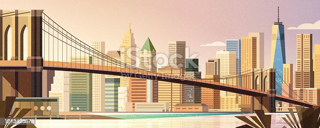 Brooklyn bridge and Manhattan skyline in flat style, New York City scene