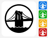 Brooklyn Bridge Icon. This 100% royalty free vector illustration features the main icon pictured in black inside a white square. The alternative color options in blue, green, yellow and red are on the right of the icon and are arranged in a vertical column.