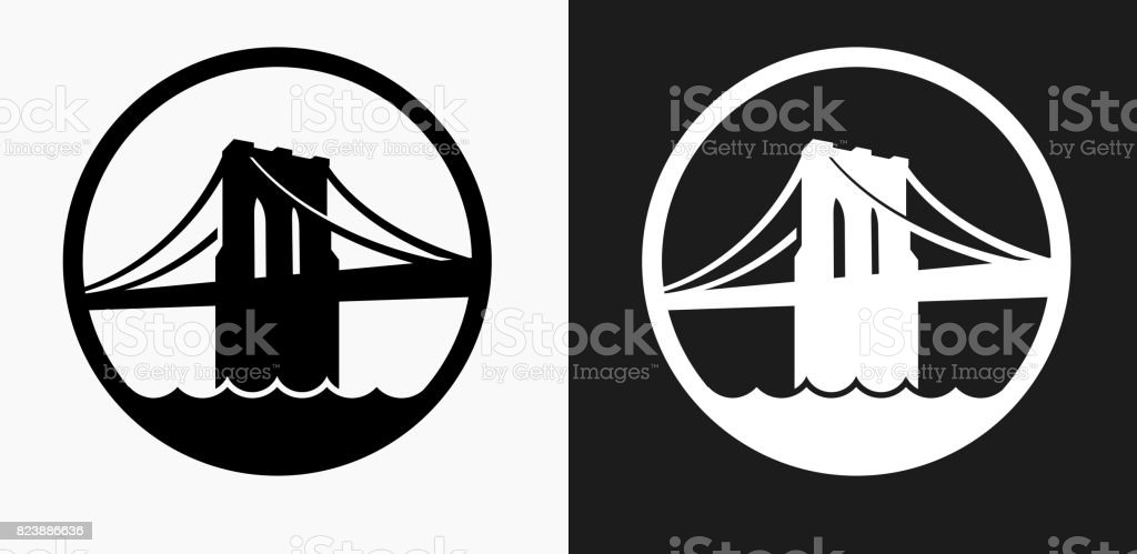 Brooklyn Bridge Icon on Black and White Vector Backgrounds
