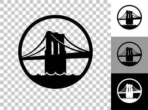 Brooklyn Bridge Icon on Checkerboard Transparent Background