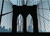 Silhouette of the Brooklyn Bridge in New York.