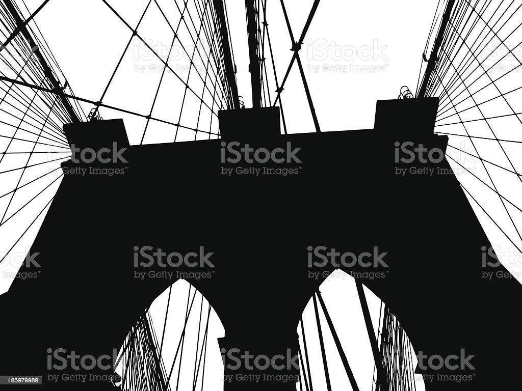 Brooklyn Bridge Silhouette Vector vector art illustration