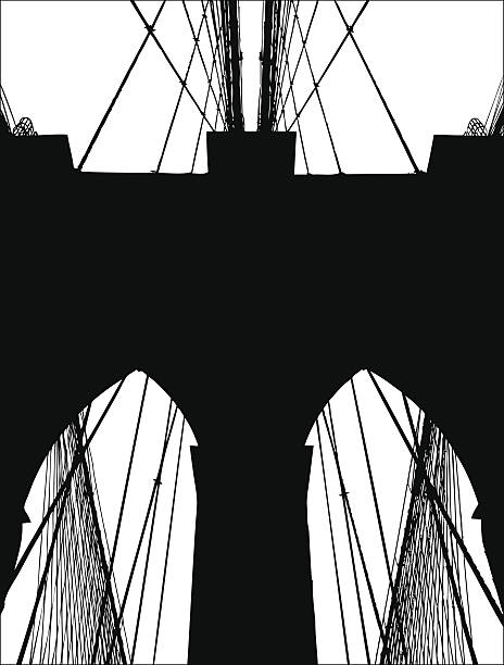 Andy Warhol Brooklyn Bridge C 1983 Black Bridge White ...  |Brooklyn Bridge Painting Black And White