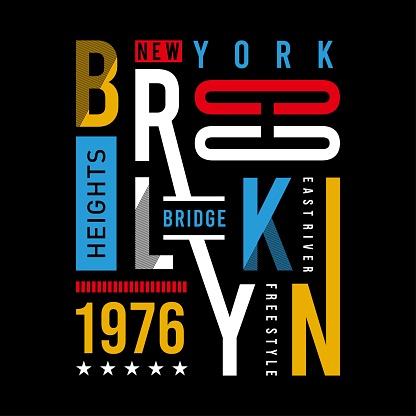 brooklyn - bridge typography design for t shirt