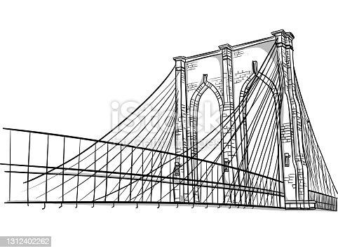 Sketch of the Brooklyn bridge in New York in vector illustration format