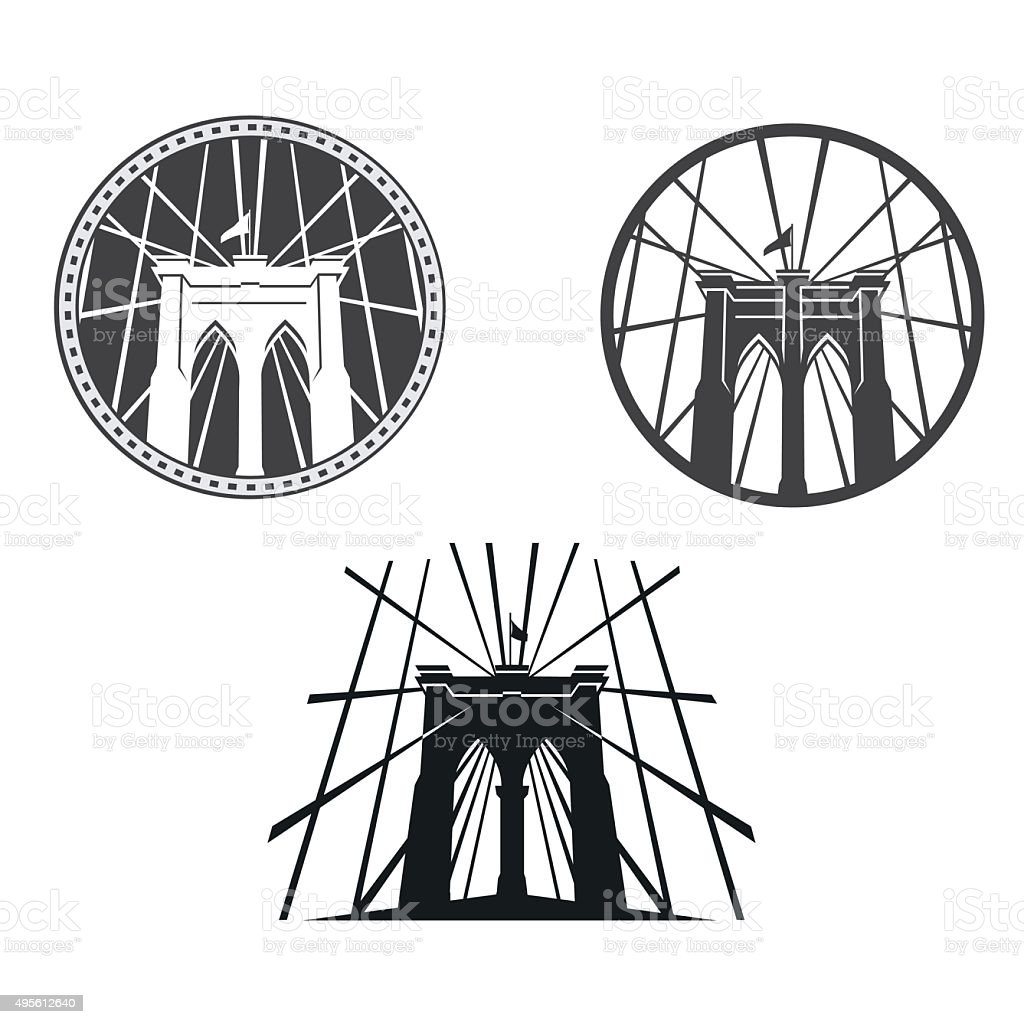 Brooklyn Bridge vector art illustration