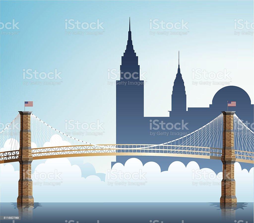 Brooklyn Bridge vector art illustration