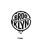 Brooklyn. Tee print with slogan. Typography for t shirt. Handwritten circular calligraphy lettering for greeting cards, posters, prints for home decorations. Vector illustration