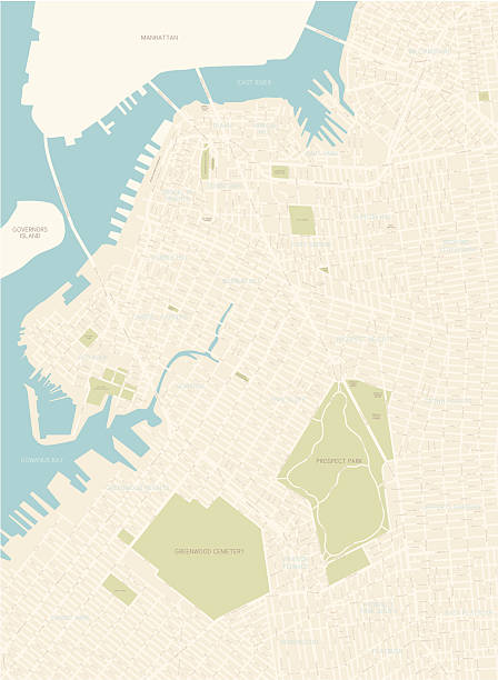 brooklyn map (northwest area) - new york map stock illustrations, clip art, cartoons, & icons