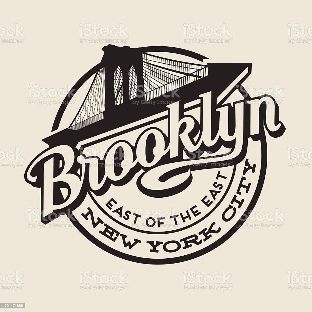 Brooklyn, New York City t-shirt or print typography design. vector art illustration