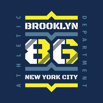 Brooklyn New York City - typography vintage badge emblem for t-shirt. Retro artwork badge. 86 sport number. Vector illustration. Underground style. Athletic department. Graphic design element.